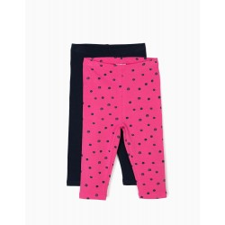 2 LEGGINGS FOR BABY GIRL 'DOTS', BLUE AND PINK