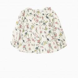 BLOUSE FOR BABY GIRL 'FLOWERS', WHITE