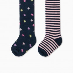 2 KNITTED TIGHTS FOR BABY GIRL 'STARS & STRIPES', DARK BLUE