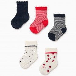 5 PAIRS BABY GIRL SOCKS 'DOTS & STRIPES', WHITE / RED / BLUE