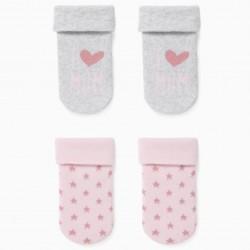 2 PAIRS OF BABY GIRL SOCKS 'MUM', GRAY / PINK