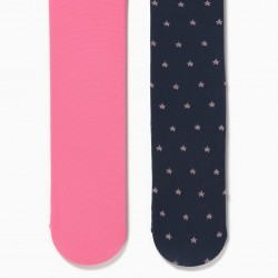 2 TIGHTS FOR BABY GIRL 'STARS', DARK BLUE / PINK