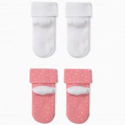 2 PAIRS OF BABY GIRL SOCKS 'MUM', PINK / WHITE