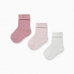 3 PAIRS BABY FOLD SOCKS, PINK / WHITE