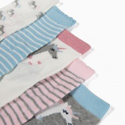 5 PAIRS SOCKS FOR BABY GIRLS 'STRIPES AND UNICORNS', MULTICOLOR