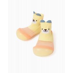 NON-SLIP SLIPPERS SOCKS FOR BABIES 'CUTE BEAR', YELLOW