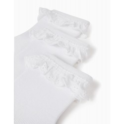 3 PAIRS OF SOCKS WITH BRODERIE ANGLAISE FOR BABY GIRLS, WHITE