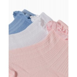 3 PAIRS OF SOCKS WITH LACE FOR BABY GIRLS, WHITE/BLUE/PINK