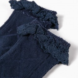 HIGH SOCKS WITH TEXTURE FOR BABY GIRL, DARK BLUE