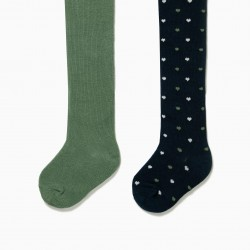 2 MESH TIGHTS FOR BABY GIRL 'HEARTS', DARK BLUE AND GREEN