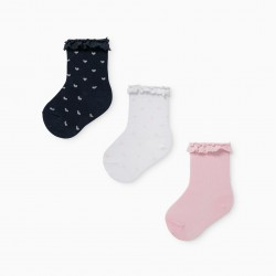 3 PAIRS OF BABY GIRL SOCKS 'DOTS & HEARTS' PINK/WHITE/BLUE