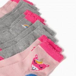 5 PAIRS OF BABY GIRL SOCKS 'RAINBOWS & UNICORNS', MULTICOLOR