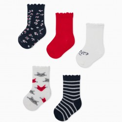 5 PAIRS OF 'BIG CATS' BABY GIRL SOCKS, WHITE/RED/BLUE