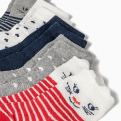 5 PAIRS OF CATS & STRIPES BABY GIRL SOCKS, MULTICOLOR