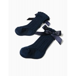 HIGH SOCKS FOR BABY GIRL WITH BOW, DARK BLUE