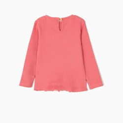 2 RIBBED LONG SLEEVE T-SHIRTS FOR BABY GIRL, PINK