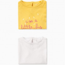 2 T-SHIRTS FOR BABY GIRL 'ARTIST', YELLOW AND WHITE