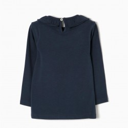 LONG SLEEVE T-SHIRT FOR BABY GIRL WITH FRILL, DARK BLUE