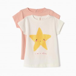 2 T-SHIRTS FOR BABY GIRL 'BUTTERFLY & STAR', PINK AND WHITE