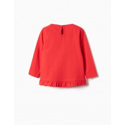 LONG SLEEVE T-SHIRT FOR BABY GIRL 'MINNIE', RED