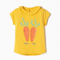 BABY GIRL T-SHIRT 'YOU AND ME', YELLOW