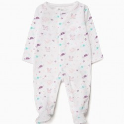 2 BABY GIRL ROMPERS 'MERMAID', PINK AND WHITE