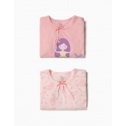 2 BABYGROWS FOR BABY GIRL 'MERMAID', PINK