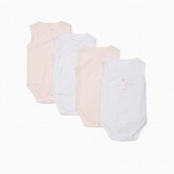 4 SLEEVELESS BODYSUITS FOR BABY GIRL 'STARS', WHITE / PINK