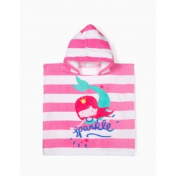 BEACH PONCHO FOR BABY GIRL 'MERMAID', PINK AND WHITE