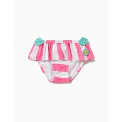 BATHING BRIEFS FOR BABY GIRL 'MERMAID' ANTI-UV 80, WHITE AND PINK