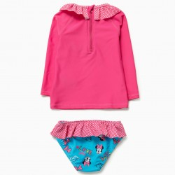 BABY GIRL 'MINNIE' T-SHIRT AND BATHING SUIT BRIEFS UV 80 SCRATCHES, PINK