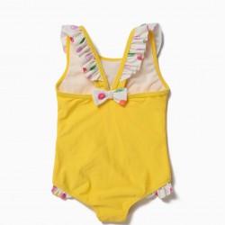 BABY GIRL SWIMSUIT 'ALWAYS PINK' ANTI-UV 80, YELLOW