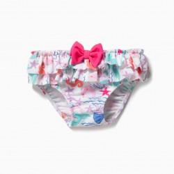BATHING BRIEFS FOR BABY GIRL 'MERMAIDS', WHITE