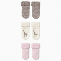 PACK 3 SOCKS FOR BABY GIRL 'ANIMALS' IN ORGANIC COTTON