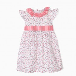 BABY GIRL'S FLOWER AND STRIPED DRESS, WHITE AND PINK