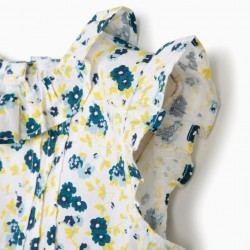 BABY GIRL FLOWER DRESS, WHITE AND BLUE
