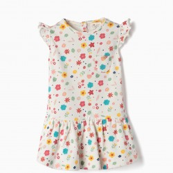 JERSEY DRESS FOR BABY GIRL 'FLORES', WHITE