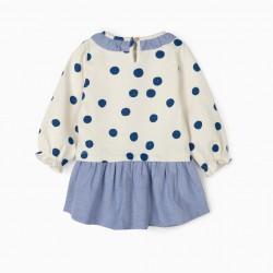 APPLE BABY GIRL COMBO DRESS, WHITE / BLUE