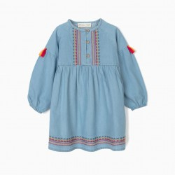 BABY GIRL'S DENIM DRESS WITH EMBROIDERY AND TASSELS, BLUE