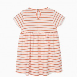 BABY GIRL DRESS 'ALL COLORS', WHITE AND ORANGE