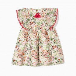 BABY GIRL DRESS 'FLOWERS' WITH TASSELS, WHITE