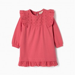 BABY GIRL DRESS WITH FRILLS AND EMBROIDERY, PINK