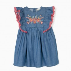 BABY GIRL'S DENIM DRESS WITH EMBROIDERY, BLUE