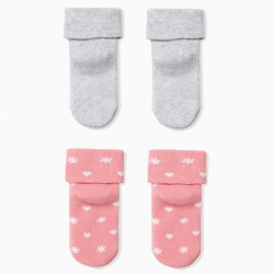 PACK 2 SOCKS FOR BABY GIRL 'DAD', GRAY AND PINK