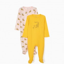 2 ROMPERS FOR BABY GIRL 'WILD BUT SWEET', YELLOW / PINK