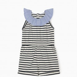 STRIPED JUMPSUIT FOR BABY GIRL, BLUE / WHITE