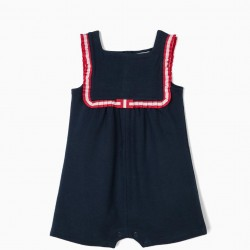 BABY GIRL'S JUMPSUIT WITH PLEATED RIBBON, DARK BLUE
