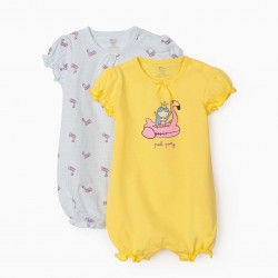 2 BABYGROWS SHORT SLEEVE FOR BABY GIRL 'POOL PARTY', YELLOW / LIGHT BLUE
