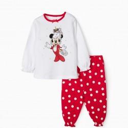 BABY GIRL PAJAMAS 'CHRISTMAS MINNIE', WHITE / RED