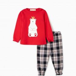 BABY GIRL'S 'BEAR KING' PAJAMA, RED / CHESS